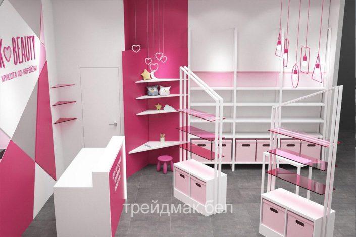 Выставочное оборудование для косметического магазина в розовом цвете